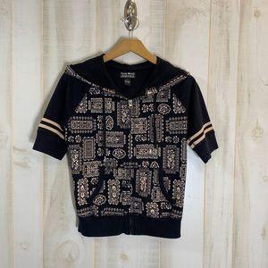 Lucky Brand Black Graphic Hoodie Zip Short Sleeve